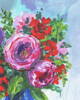 Painting - Sweet Pink Red And Purple Bouquet Floral Impressionism  by Irina Sztukowski