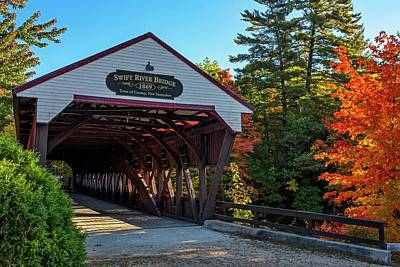 Photograph - Swift River Bridge Conway Nh Autumn Tree by Toby McGuire