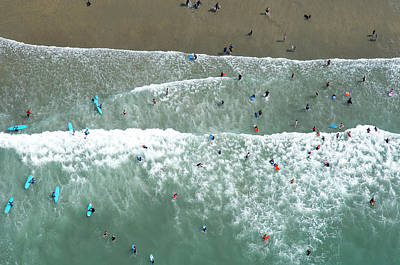 Photograph - Swimmers And Surfers On Beach, Aerial by Jason Hawkes