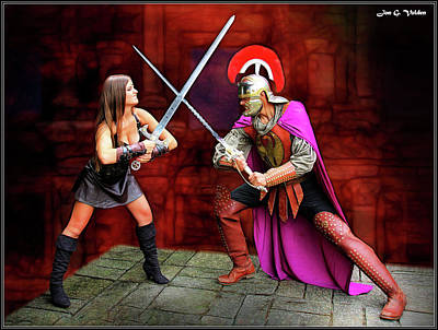 Photograph - Sword Fight Xena Vs Roman by Jon Volden