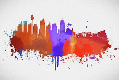 Painting - Sydney Australia Color Skyline by Dan Sproul