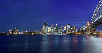 Sydney Skyline Photograph - Sydney Skyline At Night by Kim Wilder Hinson