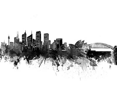 Abstract Skyline Royalty-Free and Rights-Managed Images - Sydney Skyline Bw by Bekim M
