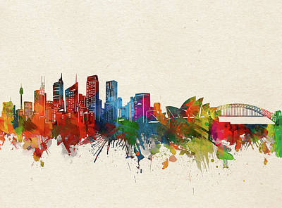 Abstract Skyline Royalty-Free and Rights-Managed Images - Sydney Skyline Watercolor by Bekim M
