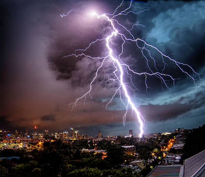 Photograph - Sydney Summer Lightning Strike by Australian Land, City, People Scape Photographer