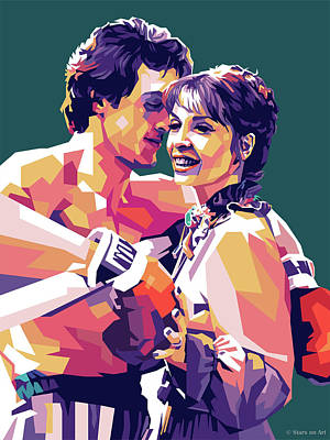 Colorful Button - Sylvester Stallone and Talia Shire by Stars on Art