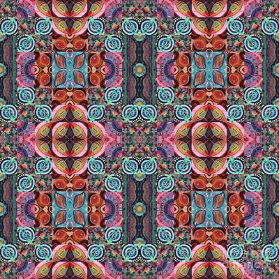 Mixed Media - T J O D Mandala Series Puzzle 7 Arrangement 5 Multiplied Variation by Helena Tiainen