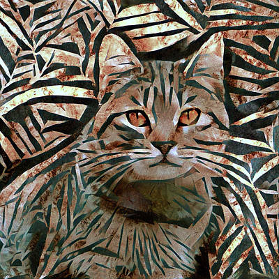 Digital Art - Tabby Cat In Bamboo Forest Abstract by Peggy Collins