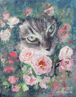Painting - Tabby Cat In Rose Garden by Ryn Shell