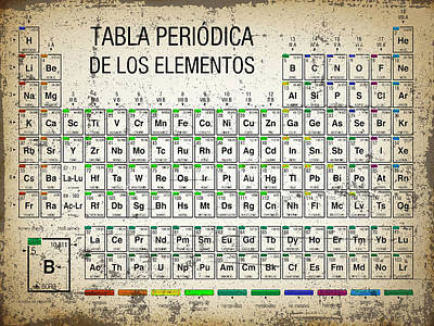 Painting - Tabla Periodica De Los Elementos Periodic Table Of The Elements Vintage Chart Silver by Tony Rubino