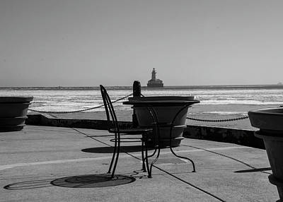 Photograph - Table For One Bw by Stuart Manning