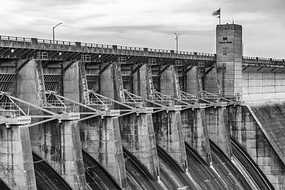 Photograph - Table Rock Dam At Dawn - Branson Missouri Black And White by Gregory Ballos