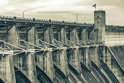 Photograph - Table Rock Dam At Dawn - Branson Missouri Sepia by Gregory Ballos