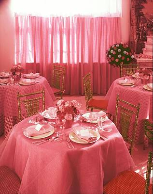 Photograph - Table Setting On Pink Tablecloths by Horst P. Horst