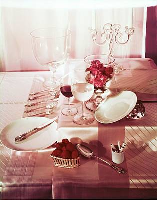 Photograph - Table Setting With Pink Linens by Horst P. Horst