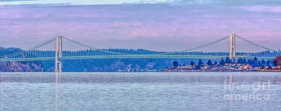 Tacoma Narrows Bridge Landscape Art Print by Jean OKeeffe Macro Abundance Art