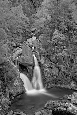 Photograph - Taconic Mountain Waterfall Black And White by Adam Jewell