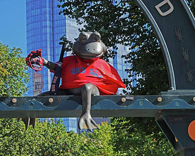 Photograph - Tadpole Playground From Statue In A Red Sox Jersey Boston Common Boston Ma 2018 by Toby McGuire