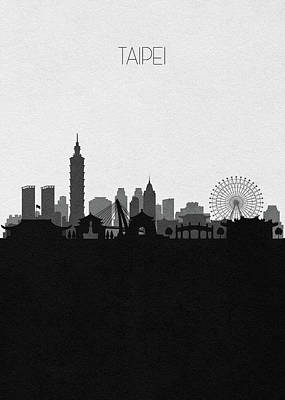 Digital Art - Taipei Cityscape Art by Inspirowl Design