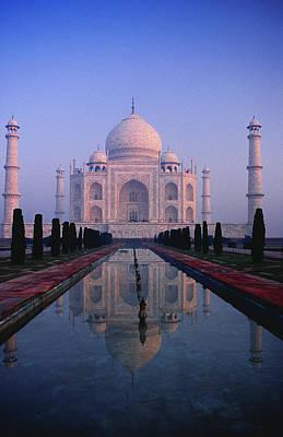 Photograph - Taj Mahal & Reflection In Watercourse by Richard I'anson