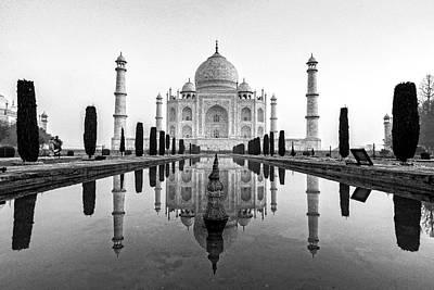 Photograph - Taj Mahal In Black And White by Ian Robert Knight