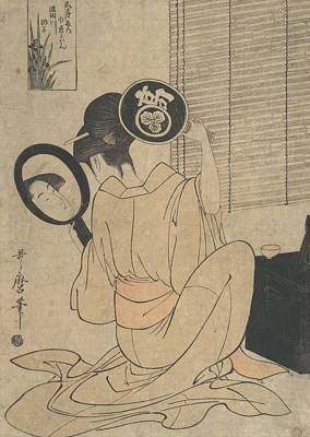 Relief - Takashima Ohisa Using Two Mirrors To Observe Her Coiffure by Kitagawa Utamaro
