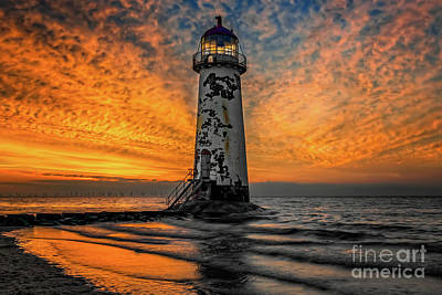 Photograph - Talacre Beach Lighthouse Sunset by Adrian Evans