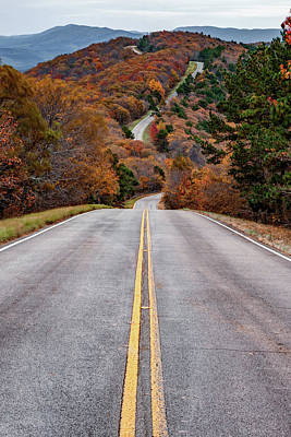 Photograph - Talimena Scenic Byway Autumn Drive - Winding Stair Mountain - Vertical Format by Gregory Ballos