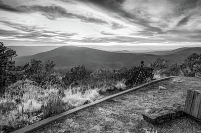 Photograph - Talimena Scenic Byway Overlook - Oklahoma Ouachita Mountain Landscape Bw by Gregory Ballos