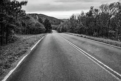 Photograph - Talimena Scenic Drive Through Ouachita Mountain Landscapes - Monochrome by Gregory Ballos