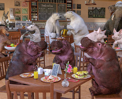 Surrealism Digital Art - Talk of the Town Coffee Shop by Betsy Knapp