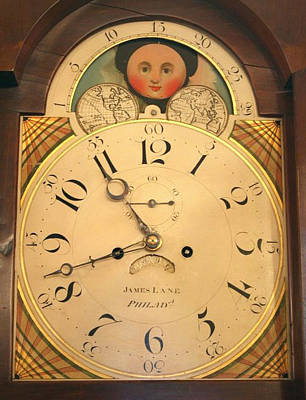 Mixed Media - Tall Case Clock Face, Around 1816 by James Lane