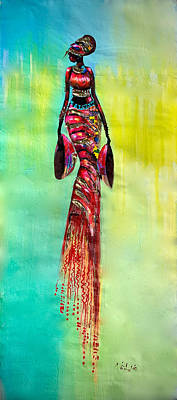 Painting - Tall Lady by James Nii Addo