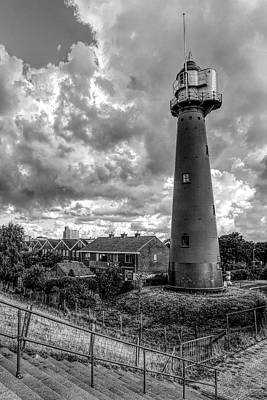 Photograph - Tall Lighthouse In Holland Black And White by Debra and Dave Vanderlaan