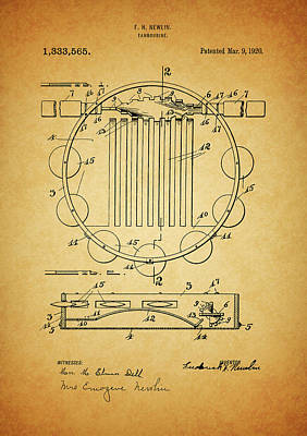 Musicians Drawings - Tambourine Patent by Dan Sproul