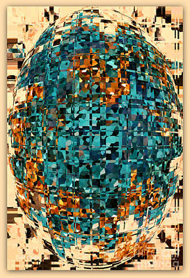 Photograph - Tan And Turquoise Abstract With Border by Carol Groenen