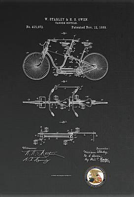 Digital Art - Tandem Bicycle Patent Drawing by Carlos Diaz
