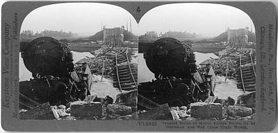 Photograph - Tangled Ruins Of The Marne Bridge by The New York Historical Society
