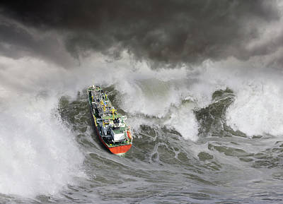 Photograph - Tanker In Ocean Storm by John Lund