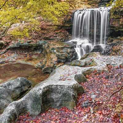 Photograph - Tanyard Creek Waterfall In Autumn - Square Format by Gregory Ballos