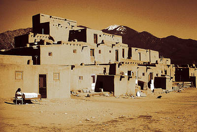 Photograph - Taos Pueblo New Mexico - Vintage Photo Art by Peter Potter