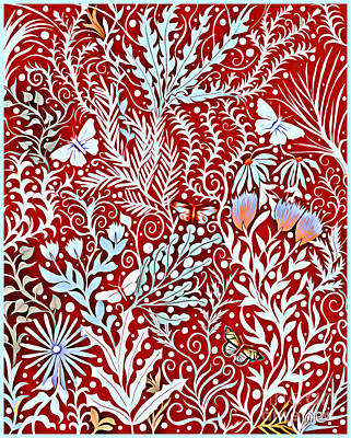 Tapestry - Textile - Tapestry Design In Brick Red With White Butterflies And Celadon Colored Foliage by Lise Winne