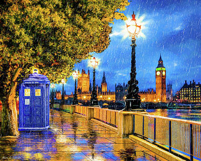 Painting - Tardis In The Rain - London by Mark Tisdale