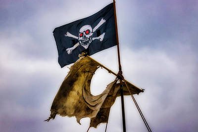 Photograph - Tattered Sail And Pirate Flag by Garry Gay
