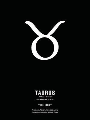 Mixed Media Royalty Free Images - Taurus Print 2 - Zodiac Sign Print - Zodiac Poster - Taurus Poster - Black and White - Taurus Traits Royalty-Free Image by Studio Grafiikka