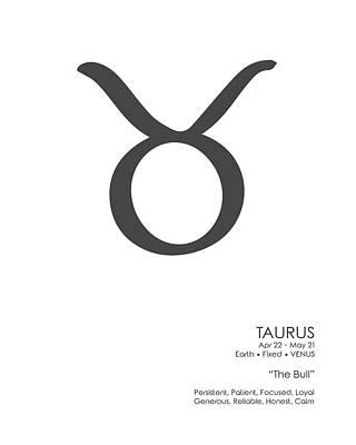 Mixed Media Royalty Free Images - Taurus Print - Zodiac Signs Print - Zodiac Posters - Taurus Poster - Black and White - Taurus Traits Royalty-Free Image by Studio Grafiikka