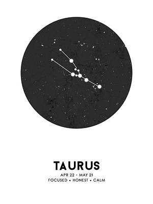 Mixed Media Royalty Free Images - Taurus Print - Zodiac Signs Print - Zodiac Posters - Taurus Poster - Night Sky - Taurus Traits Royalty-Free Image by Studio Grafiikka