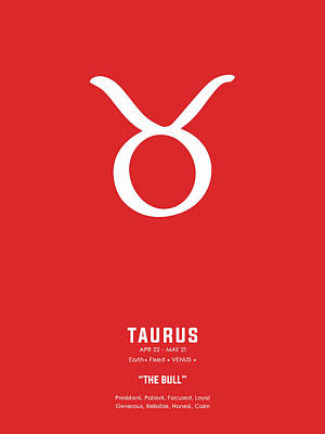 Royalty-Free and Rights-Managed Images - Taurus Print - Zodiac Signs Print - Zodiac Posters - Taurus Poster - Red and White - Taurus Traits by Studio Grafiikka