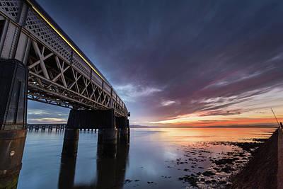 Photograph - Tay Bridge Sunset by Diarmid Weir