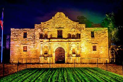The Alamo Wall Art - Photograph - Te Alamo At Night by Garry Gay